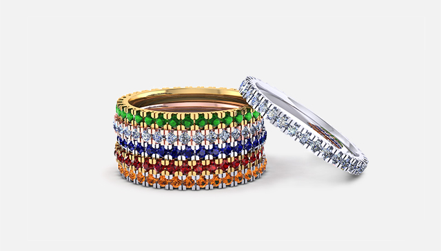 Eternity bands in various colours 1.5mm