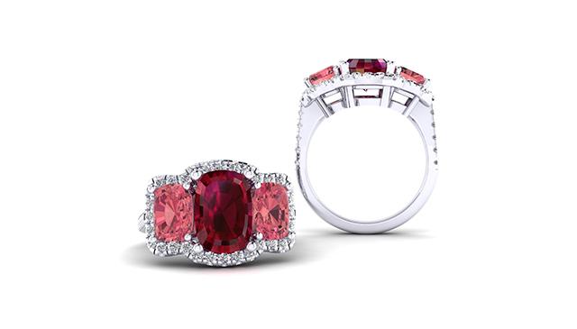 3 Stone Rubellite Ring