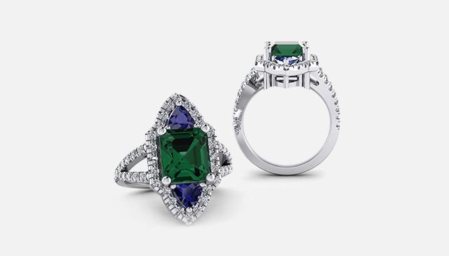 3 Stone Tourmaline Trillion Sapphires Ring
